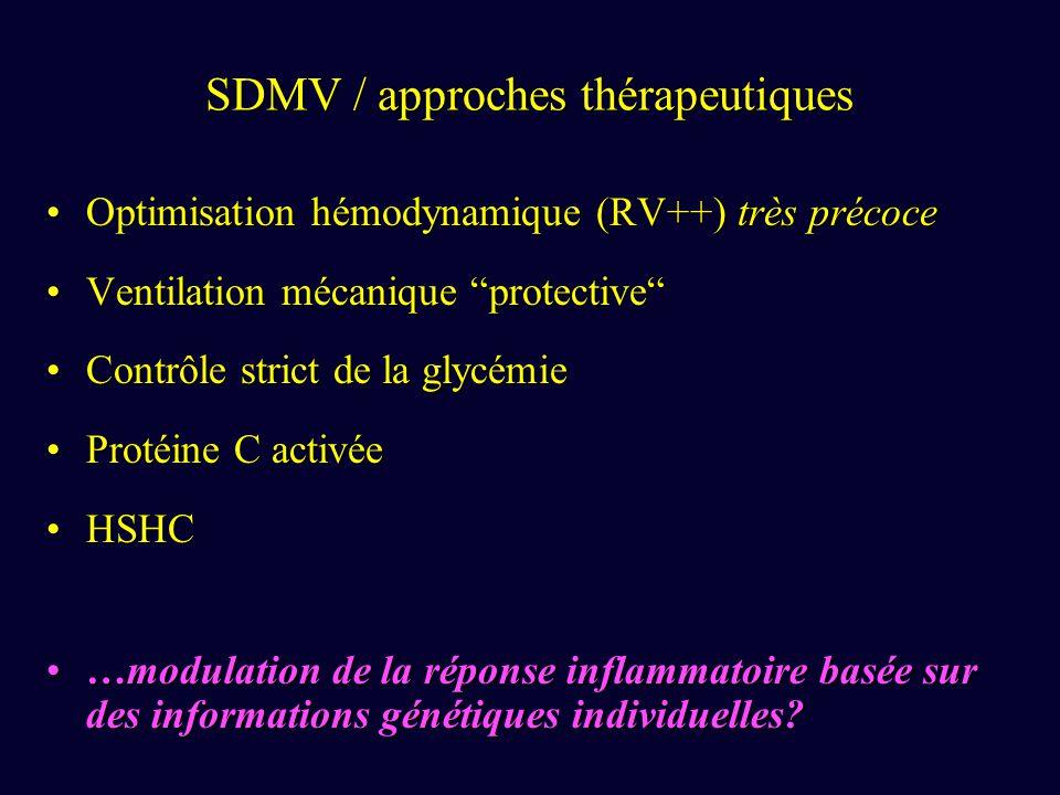 SDMV / approches thérapeutiques Optimisation hémodynamique (RV++) très précoceOptimisation hémodynamique (RV++) très précoce Ventilation mécanique pro