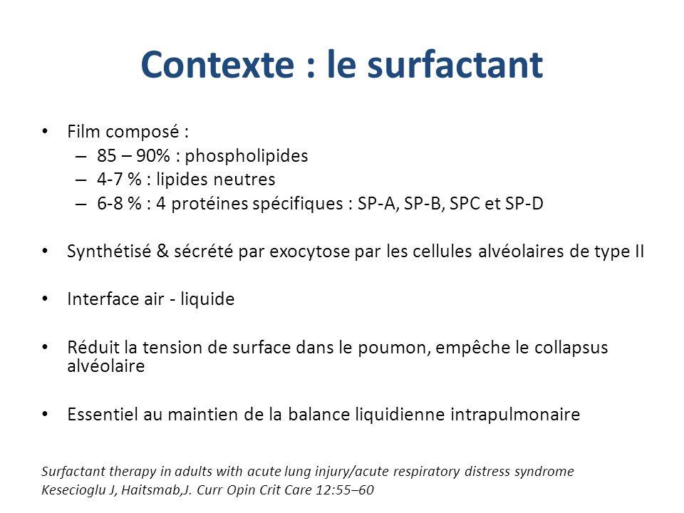Contexte : le surfactant Film composé : – 85 – 90% : phospholipides – 4-7 % : lipides neutres – 6-8 % : 4 protéines spécifiques : SP-A, SP-B, SPC et S