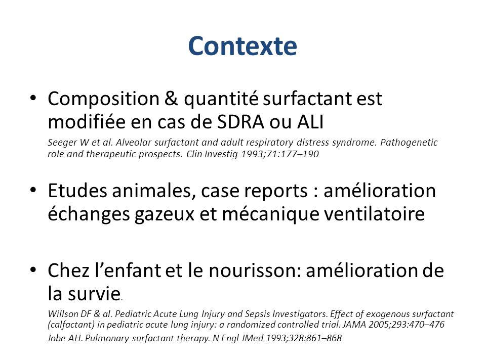 Résultats Arrêt précoce de létude à lanalyse intermédiaire à 300 patients pour surmortalité tardive groupe surfactant 418 patients randomisés