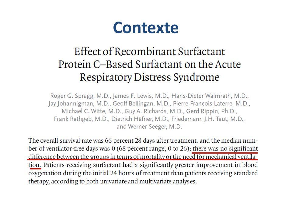 Objectif Déterminer si lutilisation dun surfactant exogène naturel chez ladulte en SDRA ou ALI améliore la survie