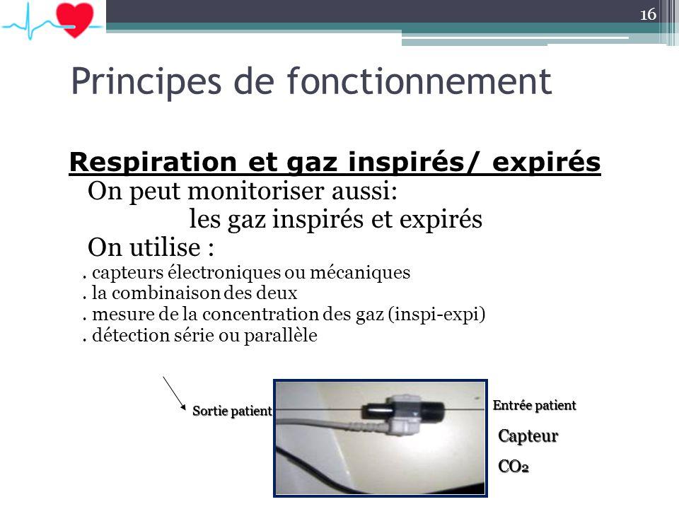 Respiration et gaz inspirés/ expirés On peut monitoriser aussi: les gaz inspirés et expirés On utilise :. capteurs électroniques ou mécaniques. la com