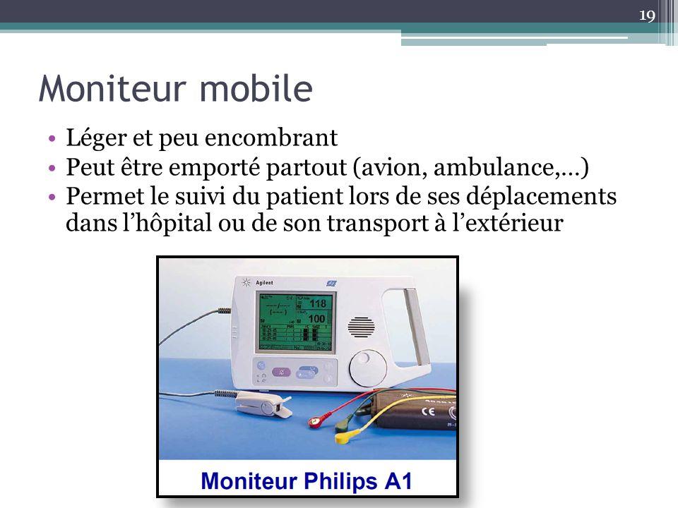 Moniteur mobile Léger et peu encombrant Peut être emporté partout (avion, ambulance,…) Permet le suivi du patient lors de ses déplacements dans lhôpit