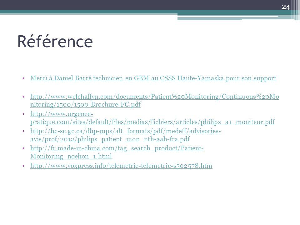 Référence Merci à Daniel Barré technicien en GBM au CSSS Haute-Yamaska pour son support http://www.welchallyn.com/documents/Patient%20Monitoring/Conti