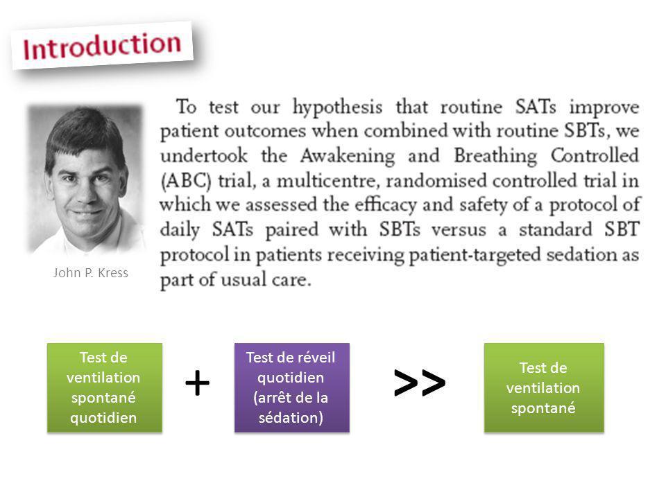 John P. Kress Test de ventilation spontané quotidien Test de ventilation spontané quotidien Test de réveil quotidien (arrêt de la sédation) Test de ré