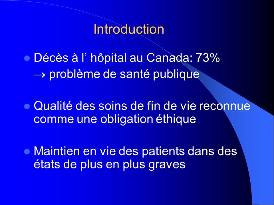 Introduction Décès à l hôpital au Canada: 73% problème de santé publique Qualité des soins de fin de vie reconnue comme une obligation éthique Maintien en vie des patients dans des états de plus en plus graves