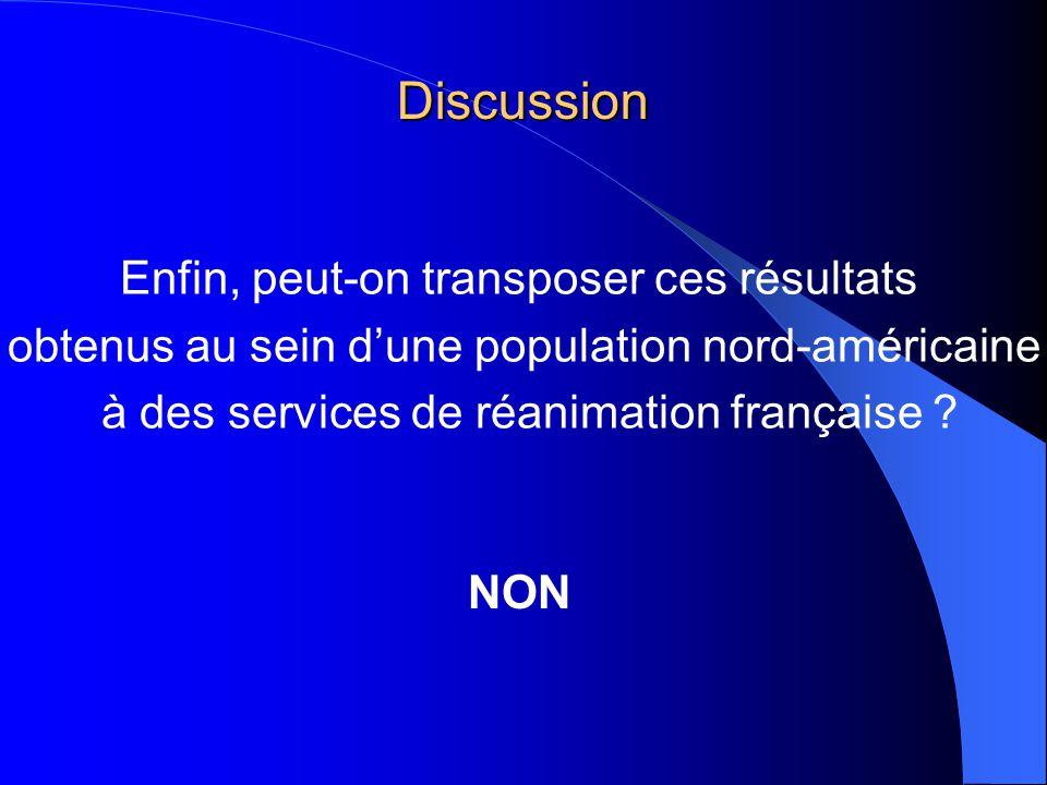 Discussion NON Enfin, peut-on transposer ces résultats obtenus au sein dune population nord-américaine à des services de réanimation française ?