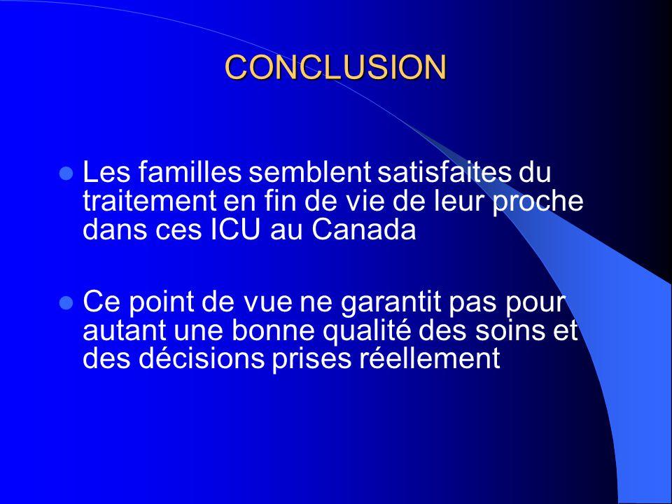 CONCLUSION Les familles semblent satisfaites du traitement en fin de vie de leur proche dans ces ICU au Canada Ce point de vue ne garantit pas pour autant une bonne qualité des soins et des décisions prises réellement