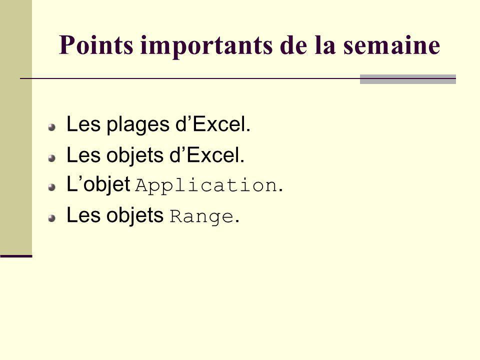 Points importants de la semaine Les plages dExcel.
