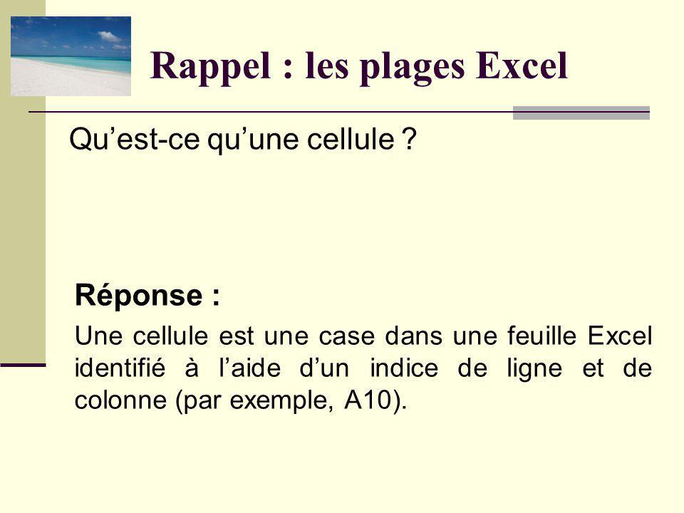 Rappel : les plages Excel Réponse : Une cellule est une case dans une feuille Excel identifié à laide dun indice de ligne et de colonne (par exemple, A10).