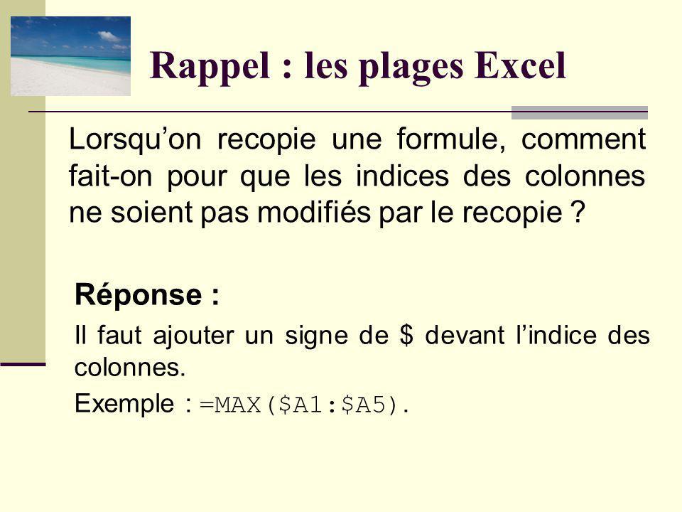 Rappel : les plages Excel Réponse : Il faut ajouter un signe de $ devant lindice des colonnes.