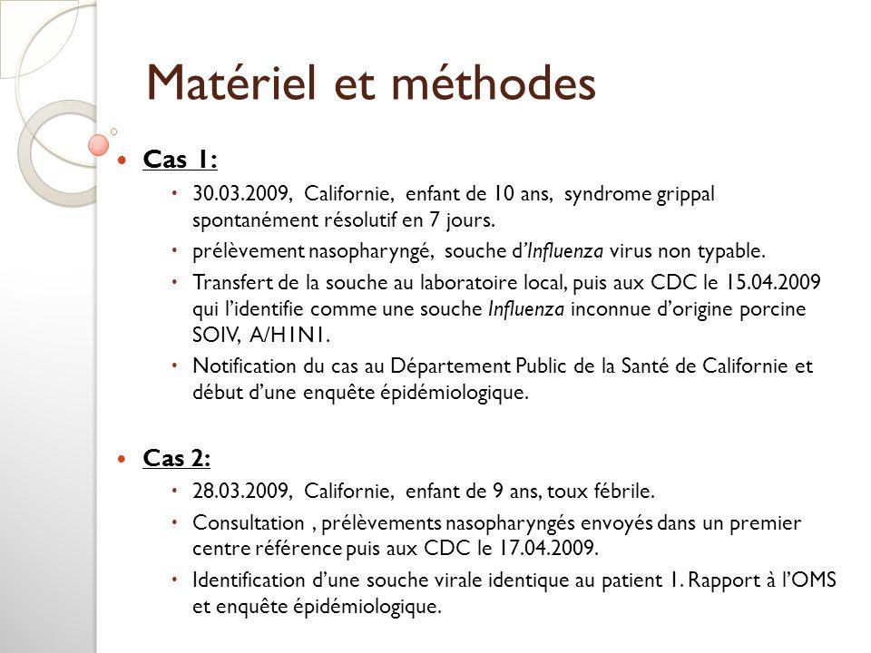 Matériel et méthodes Cas 1: 30.03.2009, Californie, enfant de 10 ans, syndrome grippal spontanément résolutif en 7 jours. prélèvement nasopharyngé, so