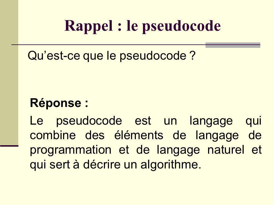 Rappel : le pseudocode Quest-ce que le pseudocode .