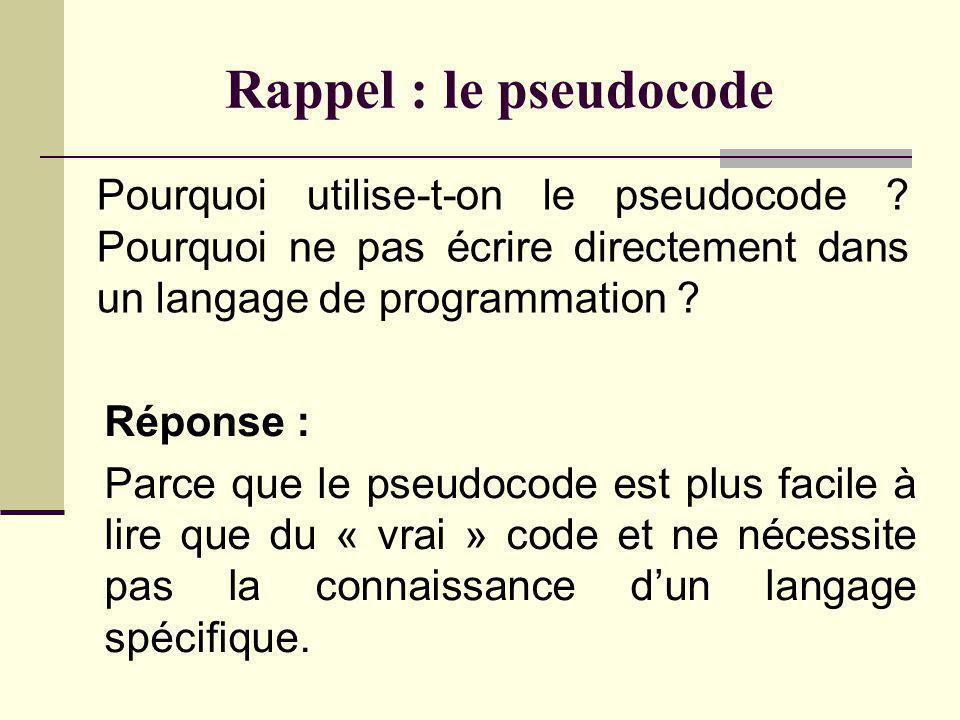 Rappel : le pseudocode Quest-ce que le pseudocode ? Réponse : Le pseudocode est un langage qui combine des éléments de langage de programmation et de