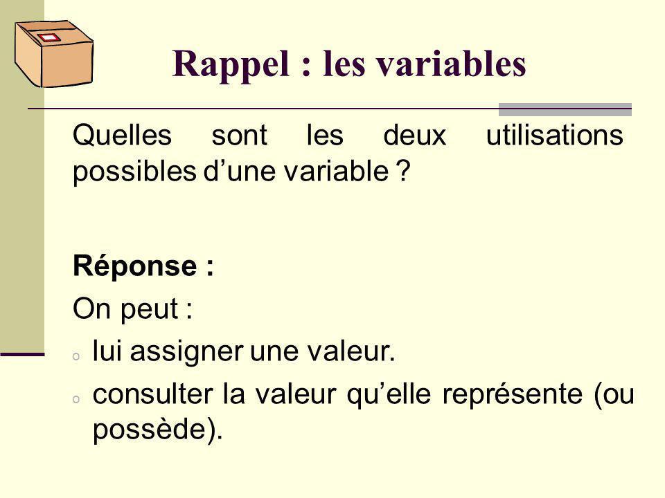 Rappel : les variables Quest-ce quune variable ? Réponse : Une variable est un identificateur (comme x ou prénom) utilisé pour représenter une valeur.