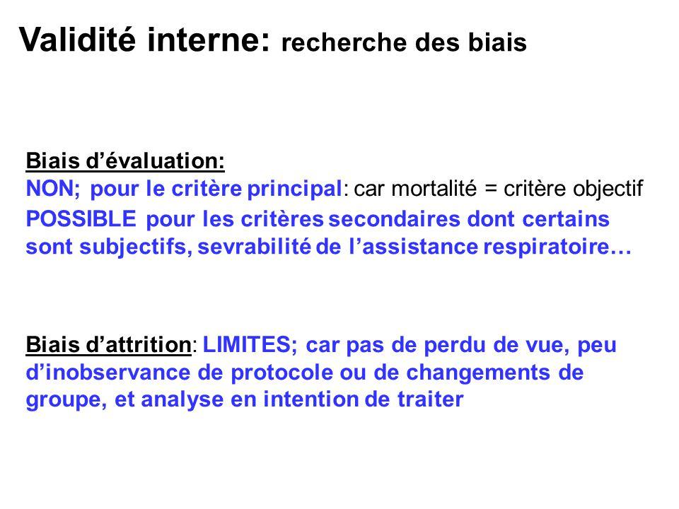 Biais dévaluation: NON; pour le critère principal: car mortalité = critère objectif POSSIBLE pour les critères secondaires dont certains sont subjecti
