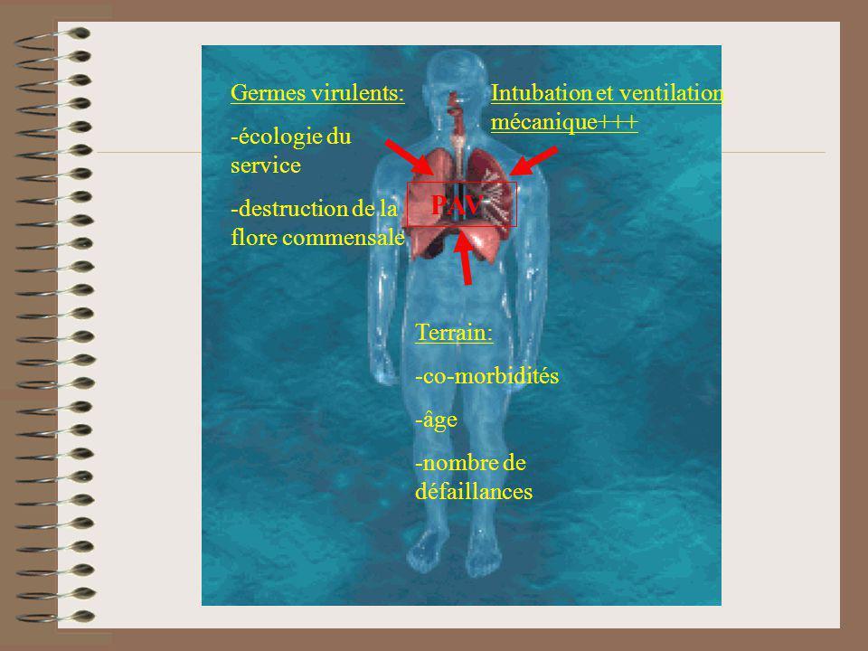 Terrain: -co-morbidités -âge -nombre de défaillances Germes virulents: -écologie du service -destruction de la flore commensale Intubation et ventilat