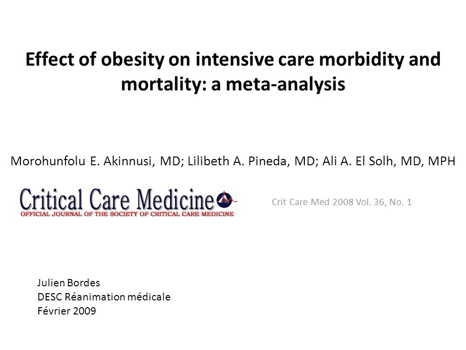Effect of obesity on intensive care morbidity and mortality: a meta-analysis Morohunfolu E. Akinnusi, MD; Lilibeth A. Pineda, MD; Ali A. El Solh, MD,