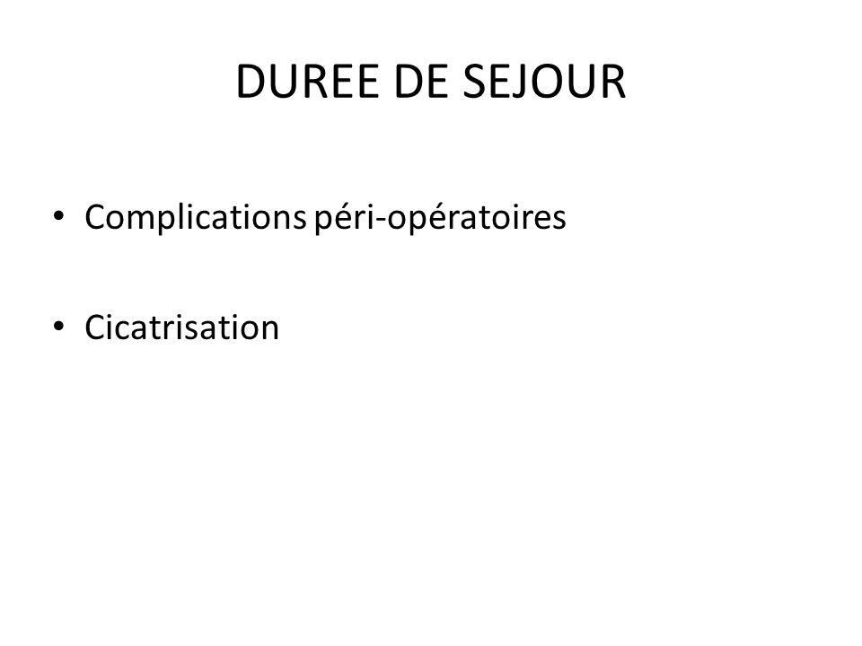 DUREE DE SEJOUR Complications péri-opératoires Cicatrisation