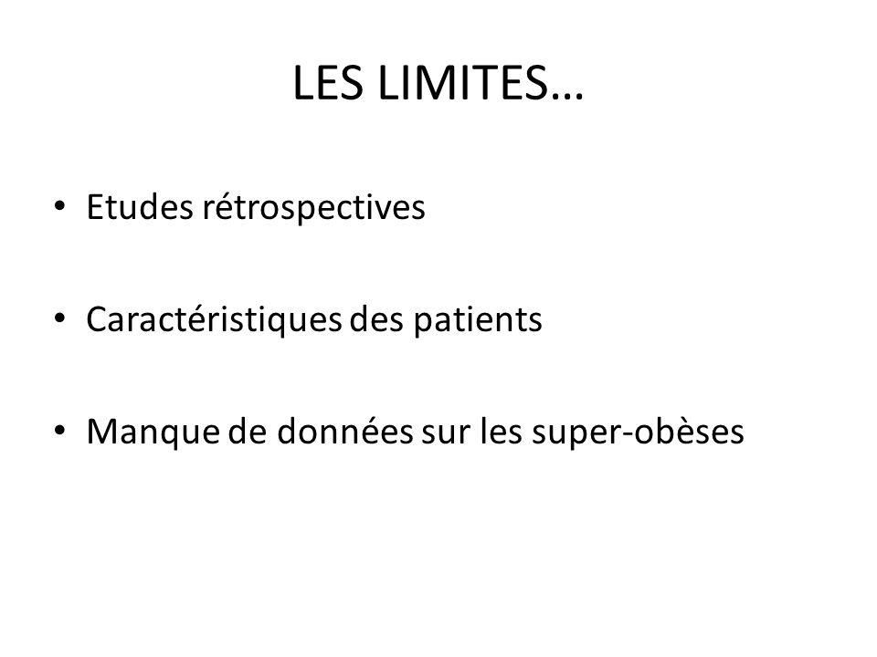 LES LIMITES… Etudes rétrospectives Caractéristiques des patients Manque de données sur les super-obèses