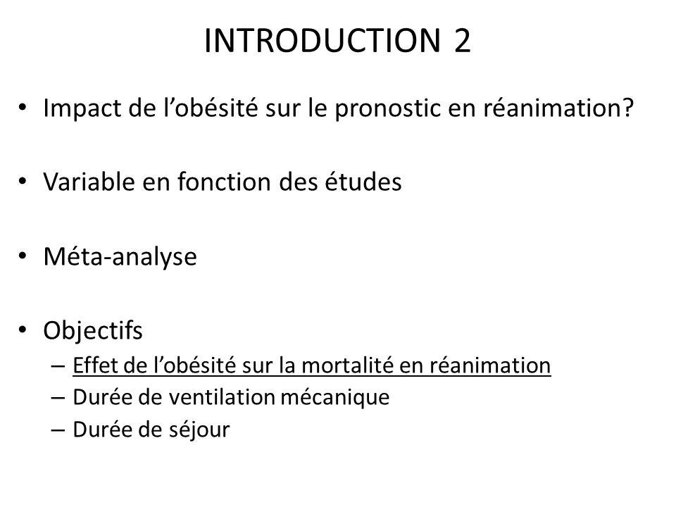 INTRODUCTION 2 Impact de lobésité sur le pronostic en réanimation? Variable en fonction des études Méta-analyse Objectifs – Effet de lobésité sur la m