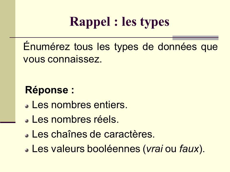 Rappel : les types Quest-ce quun type de données ? Réponse : Un type de données est un nom que lon associe à un ensemble de valeurs et aux opérations