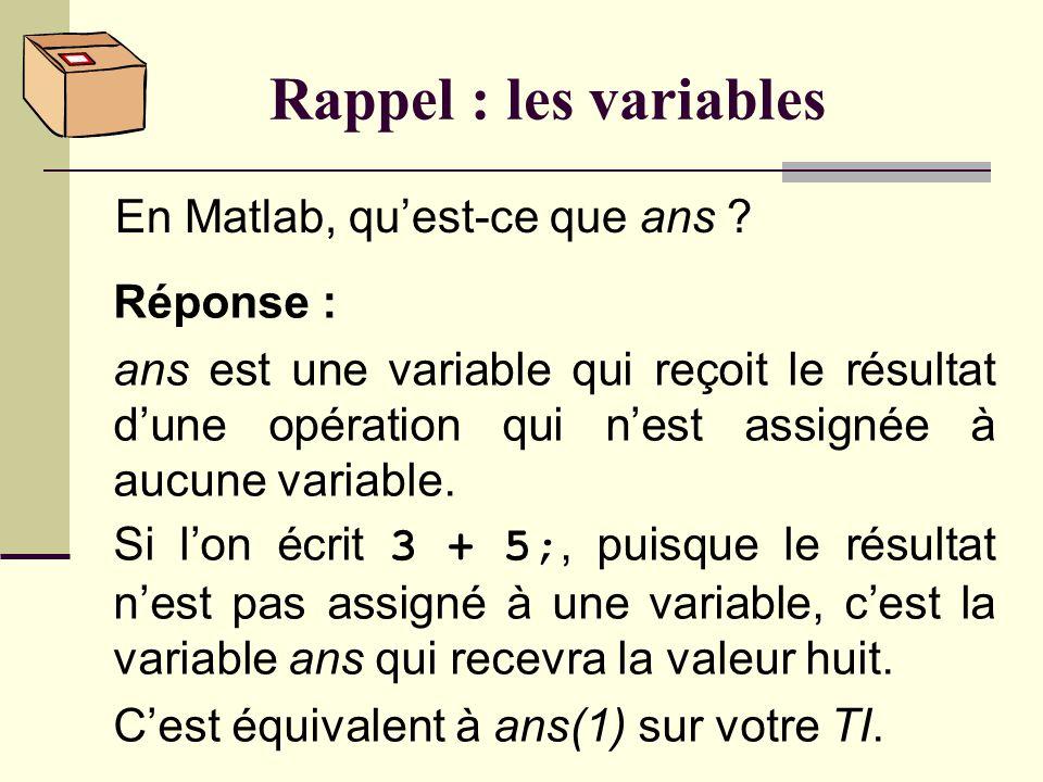 Rappel : les variables Quelles sont les deux utilisations possibles dune variable ? Réponse : On peut : o lui assigner une valeur. o consulter la vale