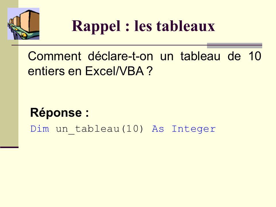 Rappel : les tableaux Comment déclare-t-on un tableau de 10 entiers en Excel/VBA .