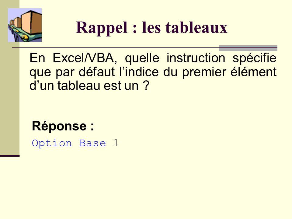 Rappel : les tableaux En Excel/VBA, quelle instruction spécifie que par défaut lindice du premier élément dun tableau est un .