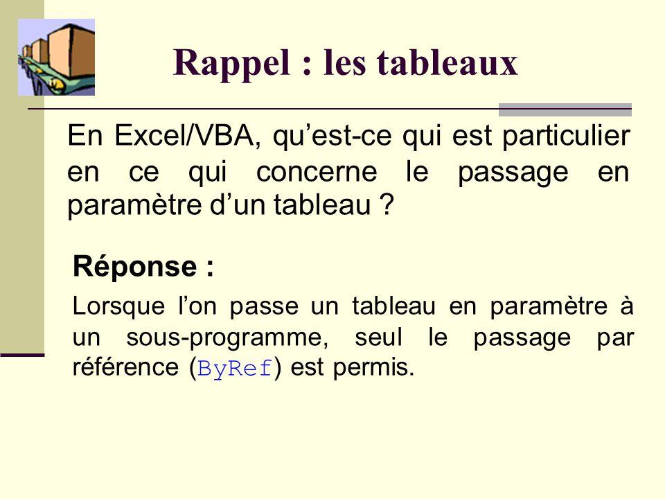 Rappel : les tableaux En Excel/VBA, quest-ce qui est particulier en ce qui concerne le passage en paramètre dun tableau .