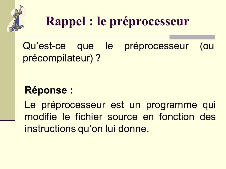 Points importants de la semaine Le préprocesseur. La conversion de types. Les fonctions.
