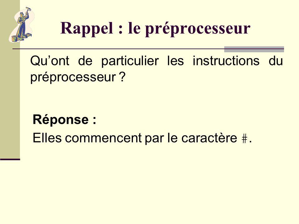 Rappel : le préprocesseur Quest-ce que le préprocesseur (ou précompilateur) .