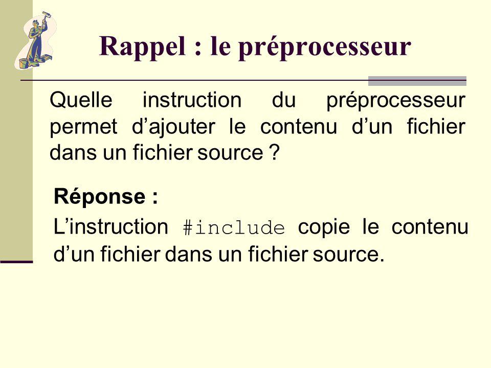 Rappel : le préprocesseur Quont de particulier les instructions du préprocesseur ? Réponse : Elles commencent par le caractère #.