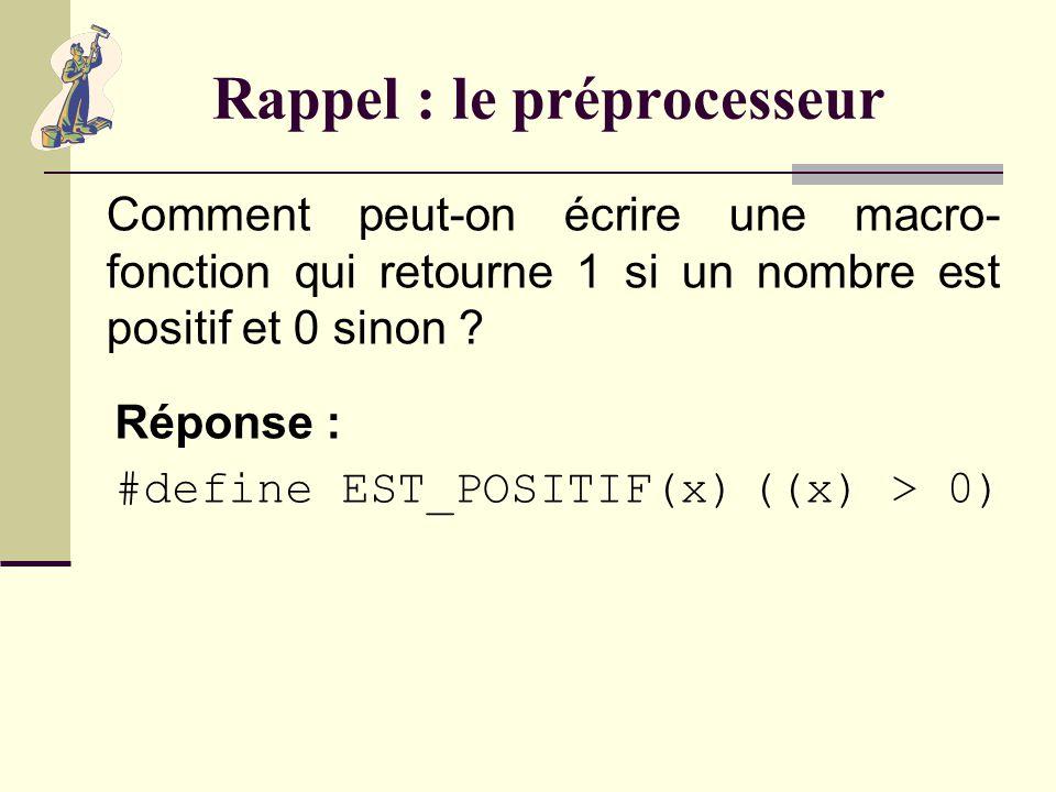 Rappel : le préprocesseur Quelles instructions du préprocesseur utilise-t-on pour ignorer un bout de code dans un fichier source ? Réponse : Les instr