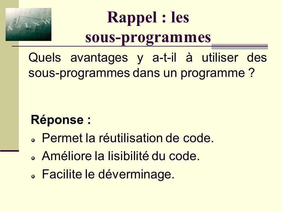 Rappel : les sous-programmes Réponse : Les procédures ( Sub ) et les fonctions ( Function ). Une fonction retourne une valeur alors quune procédure ne