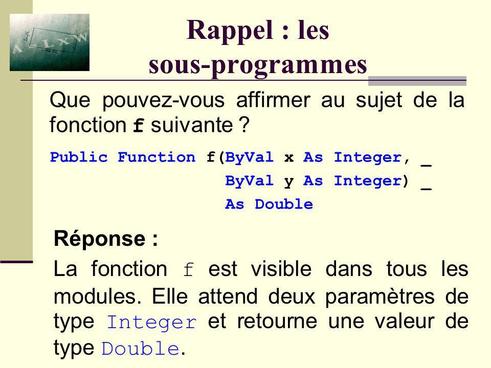 Rappel : les sous-programmes Réponse : Permet la réutilisation de code. Améliore la lisibilité du code. Facilite le déverminage. Quels avantages y a-t