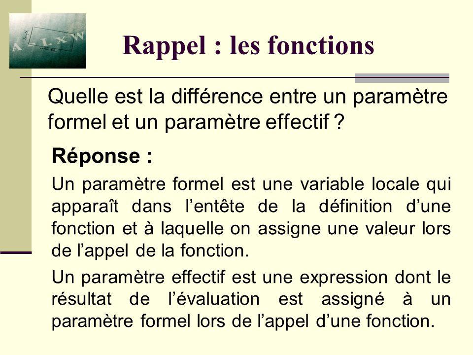 Rappel : les fonctions Réponse : Un paramètre formel est une variable locale qui apparaît dans lentête de la définition dune fonction et à laquelle on assigne une valeur lors de lappel de la fonction.