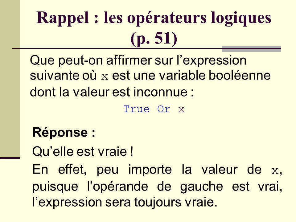 Rappel : les opérateurs logiques (p. 51) Que peut-on affirmer sur lexpression suivante où x est une variable booléenne dont la valeur est inconnue : F