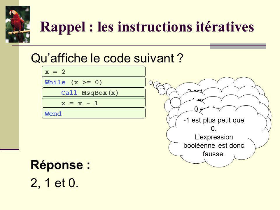 Rappel : les instructions itératives Quelle boucle préconise-t-on lorsque lon connaît le nombre de répétitions à réaliser ? Réponse : La boucle For.