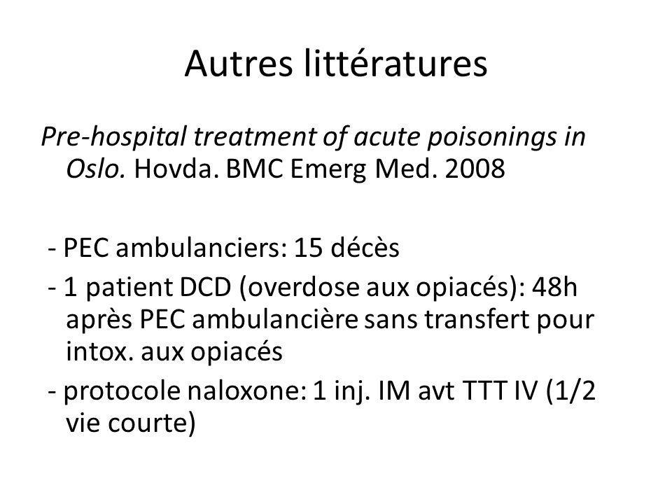 Autres littératures Pre-hospital treatment of acute poisonings in Oslo. Hovda. BMC Emerg Med. 2008 - PEC ambulanciers: 15 décès - 1 patient DCD (overd