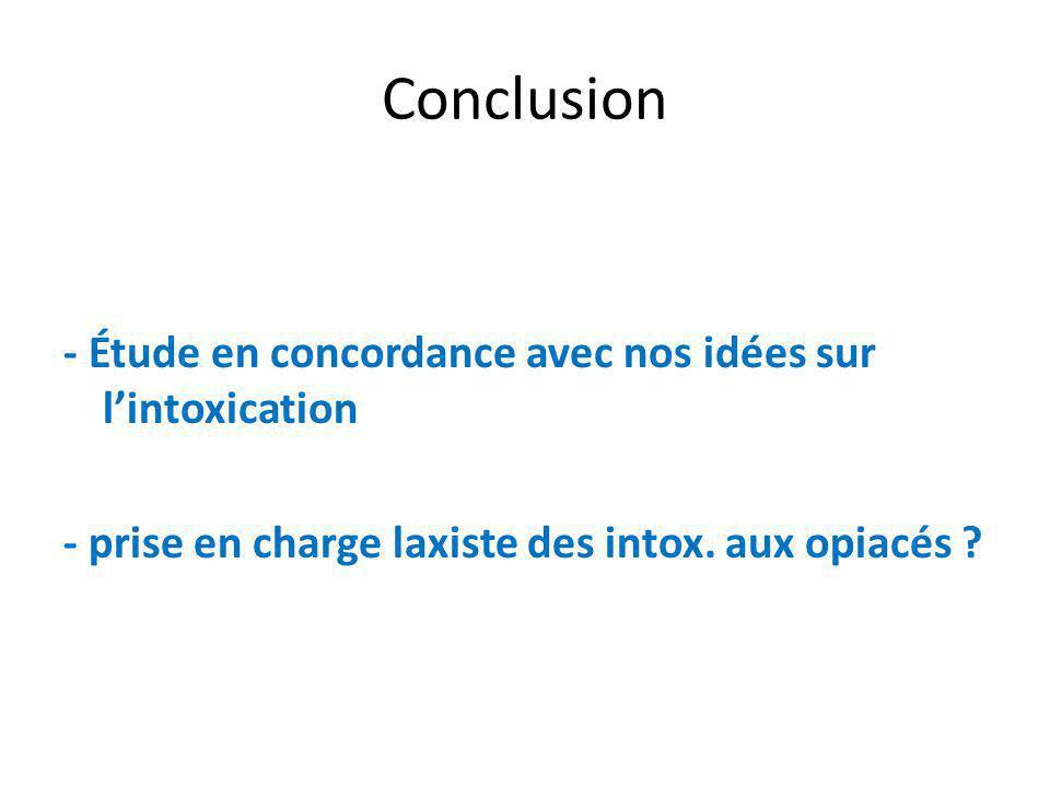 Conclusion - Étude en concordance avec nos idées sur lintoxication - prise en charge laxiste des intox.