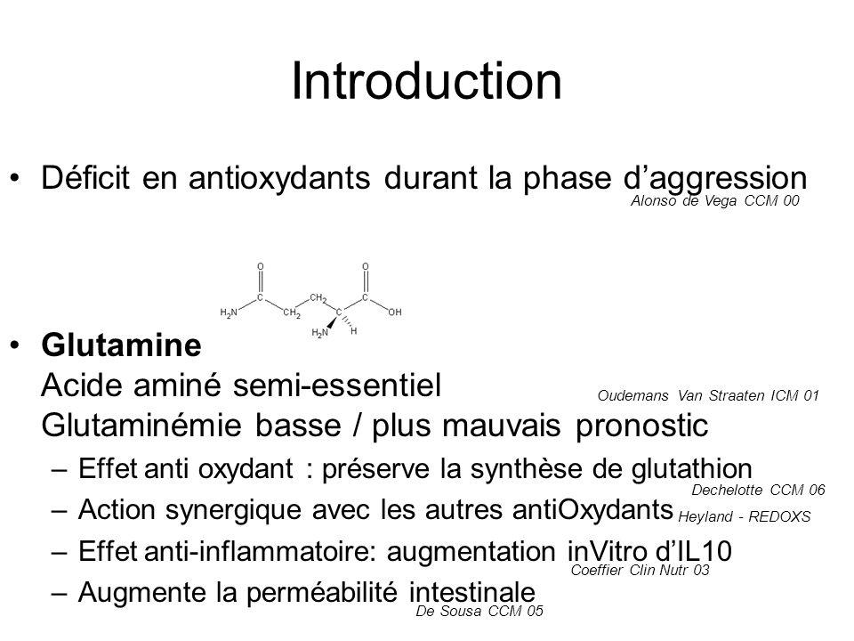 Apports Groupe expérimental: –Intestamin: J1: 336mL, J2 à J10: 500mL –Reconvan: J2: 840mL, J3 à J10: 1320 – 1480mL Groupe contrôle: –Supplément contrôle: 336mL, J2 à J10: 500mL –Fresubin: J2: 835mL, J3 à J10: 960 – 1320mL Pas darrêt de nutrition entérale pour intolérance digestive (protocole non précisé)