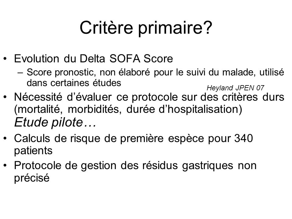 Critère primaire.