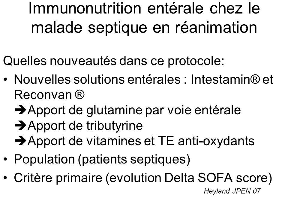 Protocole détude 5OOmL/j 21mL/h Glycémie: 80 – 110mg/L Objectif: Augmenter les apports jusquà apporter 25kcal/kg en 2 – 3 jours