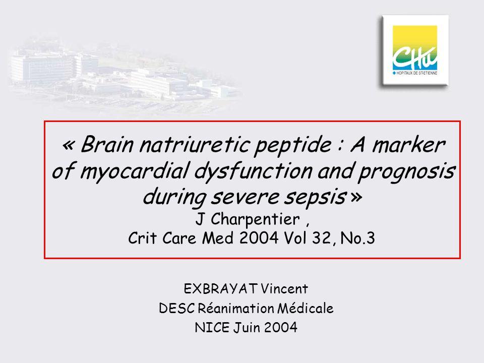 Résultats Conclusion 44% de dysfonction systolique lors du sepsis sévère BNP est lors de la dysfonction myocardique liée au sepsis Valeur pronostique du BNP