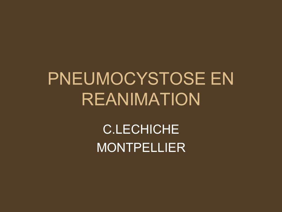 Epidemiologie FDR de survenue dune pneumocystose : –HIV (CD4 < 200/mm3) –Hémopathie –Dénutrition sévère –Déficit cellulaire T –Corticothérapie, chimiothérapie, immunosuppresseurs Reste une des 1eres causes dadmission du patient HIV+ en SI