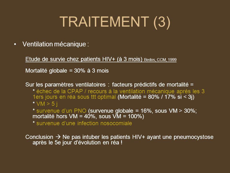 TRAITEMENT (3) Ventilation mécanique : Etude de survie chez patients HIV+ (à 3 mois) Bedos, CCM, 1999 Mortalité globale = 30% à 3 mois Sur les paramètres ventilatoires : facteurs prédictifs de mortalité = * échec de la CPAP / recours à la ventilation mécanique aprés les 3 1ers jours en réa sous ttt optimal (Mortalité = 80% / 17% si < 3j) * VM > 5 j * survenue dun PNO (survenue globale = 16%, sous VM > 30%; mortalité hors VM = 40%, sous VM = 100%) * survenue dune infection nosocomiale Conclusion Ne pas intuber les patients HIV+ ayant une pneumocystose après le 5e jour dévolution en réa !