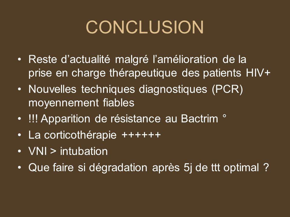 CONCLUSION Reste dactualité malgré lamélioration de la prise en charge thérapeutique des patients HIV+ Nouvelles techniques diagnostiques (PCR) moyennement fiables !!.