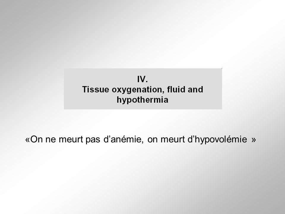 «On ne meurt pas danémie, on meurt dhypovolémie »