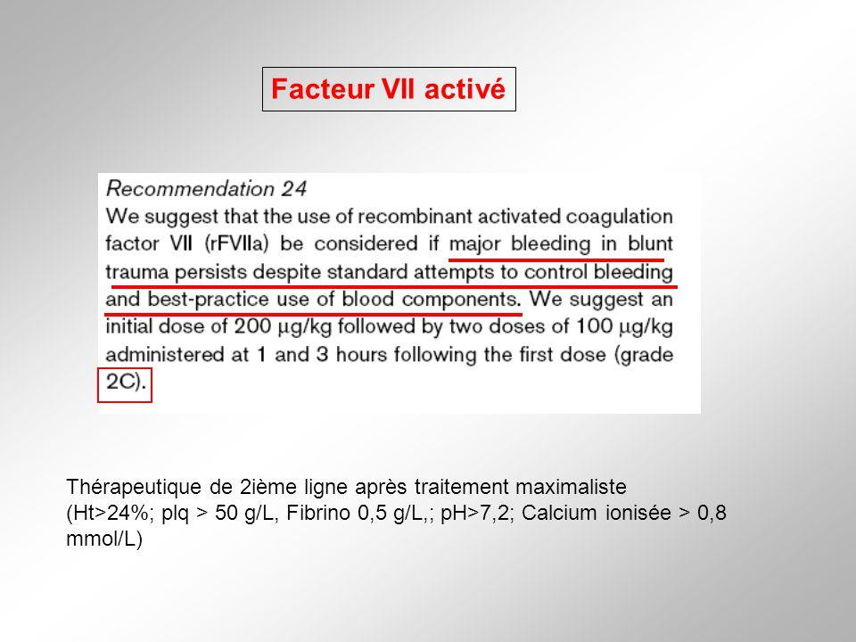 Facteur VII activé Thérapeutique de 2ième ligne après traitement maximaliste (Ht>24%; plq > 50 g/L, Fibrino 0,5 g/L,; pH>7,2; Calcium ionisée > 0,8 mm