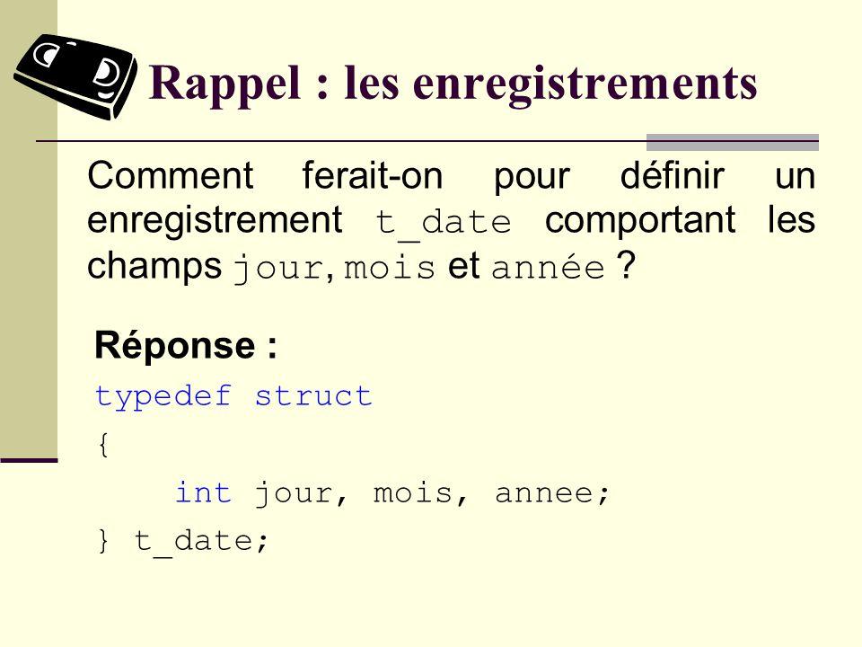 Rappel : les enregistrements Réponse : typedef struct { int jour, mois, annee; } t_date; Comment ferait-on pour définir un enregistrement t_date comportant les champs jour, mois et année ?